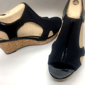 Adrienne Vittadini~Spandex/Patent Leather Wedges